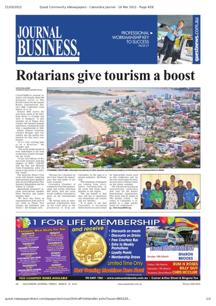 Rotarians give Caloundra a boost